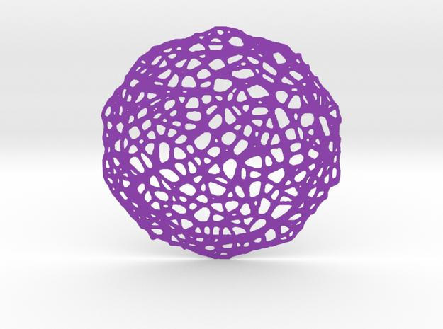 Coaster - Voronoi #7 (13 cm) in Purple Processed Versatile Plastic