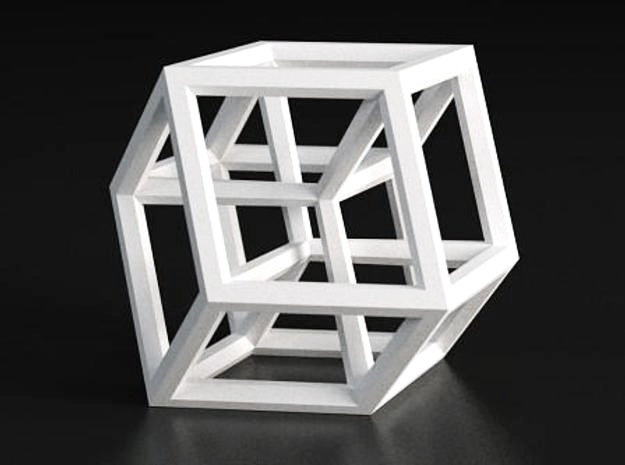 Hypercube B in White Strong & Flexible Polished