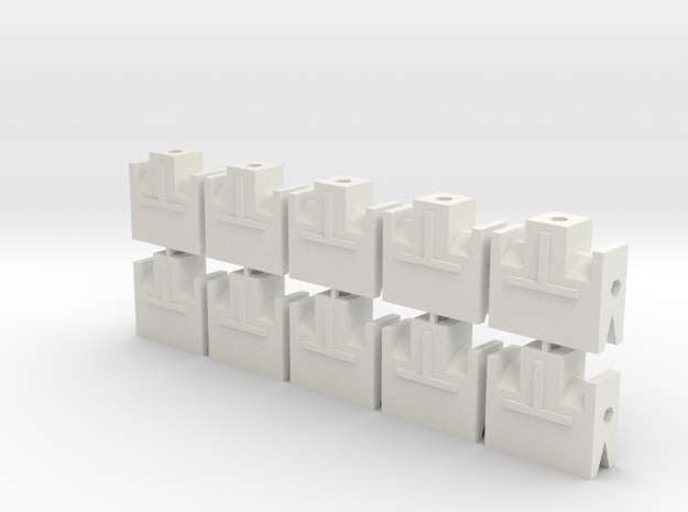 MGD-05 (10x): A Set with 10 T-End parts in White Natural Versatile Plastic