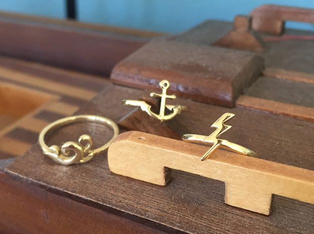 Lightning Bolt Ring (Troubled Waters Trio) in Polished Brass: 6 / 51.5