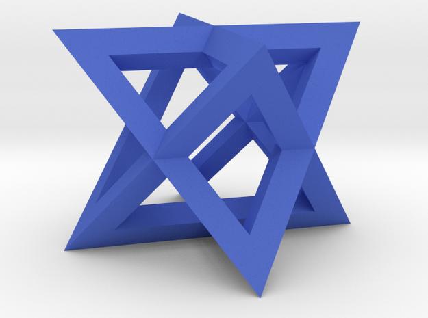Mini-Merkaba - Sharp - Thin - 1cm in Blue Processed Versatile Plastic