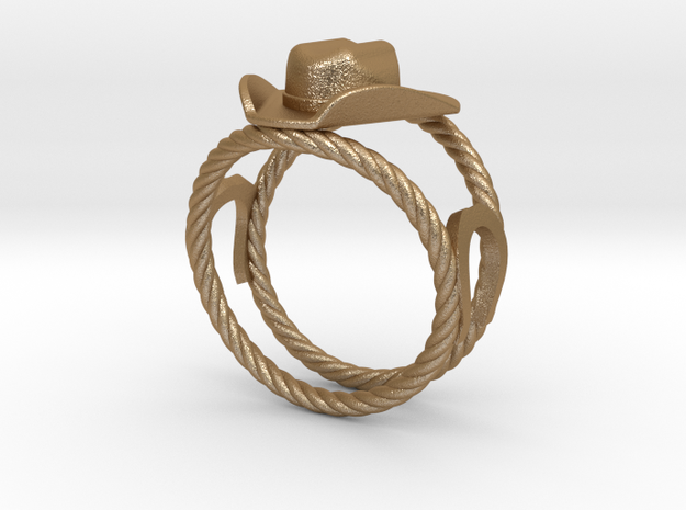 Cowboy Hat Ring Size 13  in Matte Gold Steel