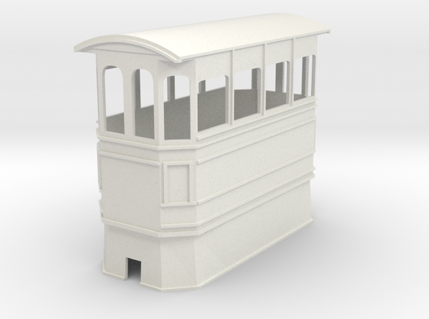 Kitson style covered steam tram 7mm narrow gauge in White Natural Versatile Plastic