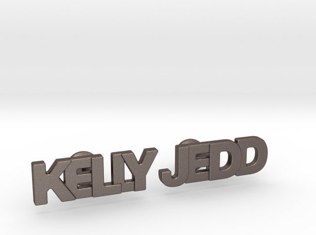 "Custom Name Cufflinks - ""Kelly & Jedd"" in Stainless Steel"