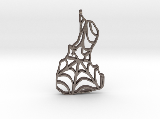 3D Printed Block Island Spidy Keychain 2 in Polished Bronzed Silver Steel
