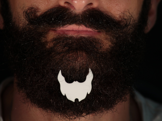 Beard icon for beard - front wearing in White Natural Versatile Plastic