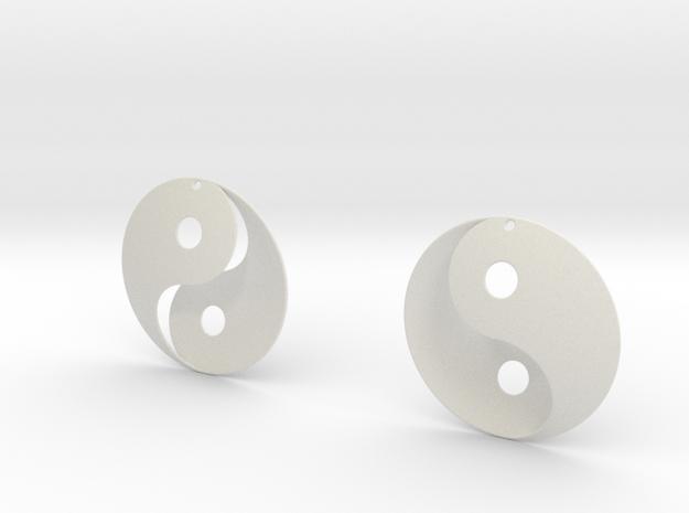Yin Yang Earrings in White Natural Versatile Plastic