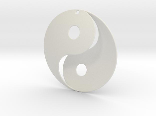 Yin Yang Pendant in White Natural Versatile Plastic