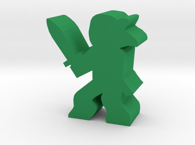 Game Piece, Deer Faun With Sword in Green Processed Versatile Plastic