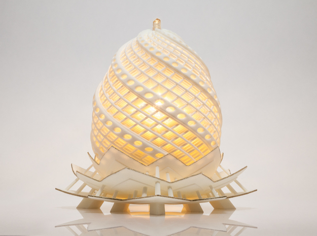 Phoenix Egg Lamp 3d printed With custom paint job and an imperial topaz on top