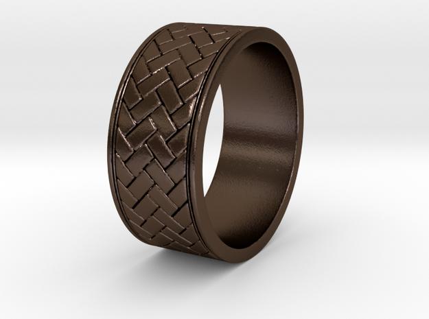 weave ring V1 Size 9.5 in Polished Bronze Steel