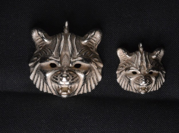 Raccoon (angry) Pendant in Polished Bronzed Silver Steel