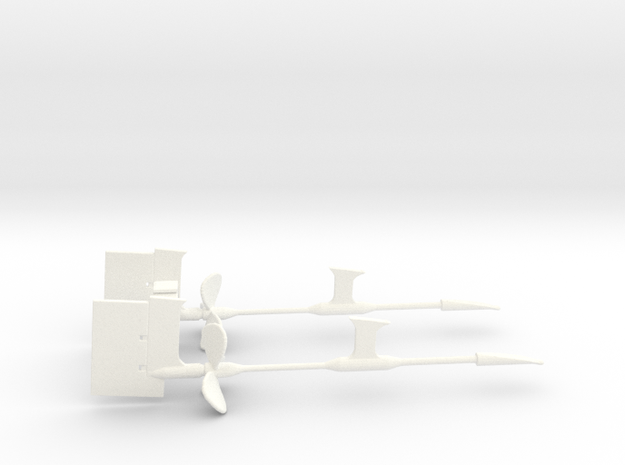 1/144 Props SET Supports And Rudders in White Processed Versatile Plastic