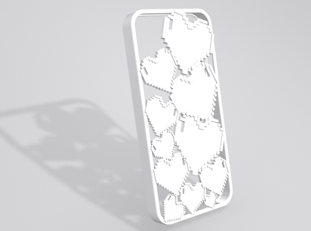 Pixel Heart iPhone 5 Case in White Strong & Flexible