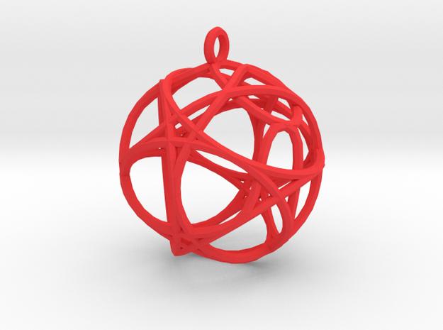 Hexagon Pendant in Red Processed Versatile Plastic
