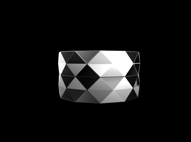 Triangle folding ring in Rhodium Plated