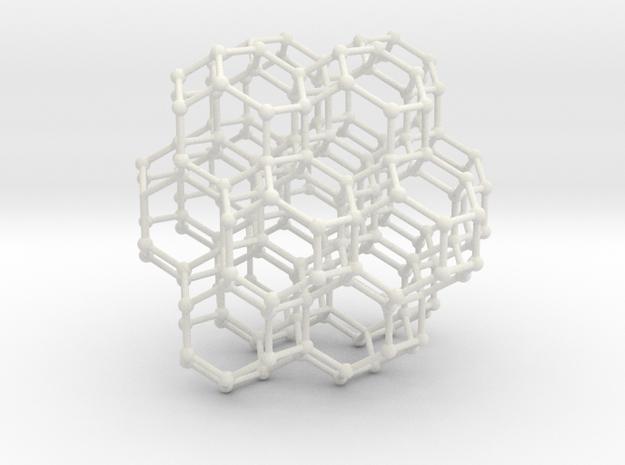 Bitruncated Cubic Honeycomb Sacred Geometry 80mm  in White Natural Versatile Plastic