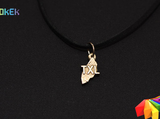 Texel pendant 3d printed Photo with the charm printed in Stainless Steel