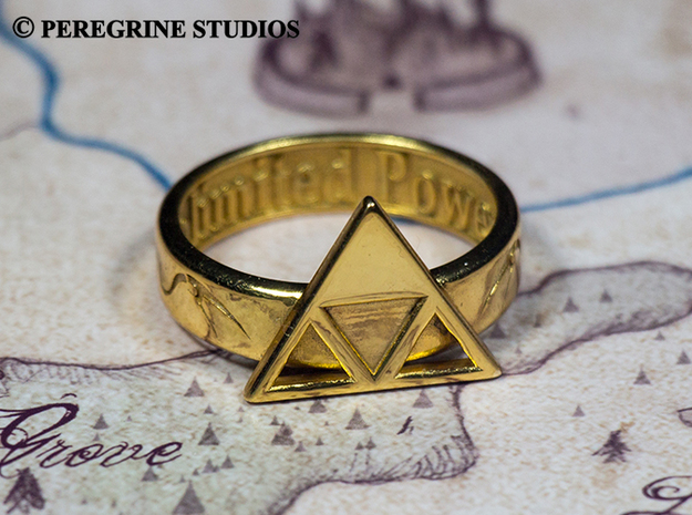 Ring - Triforce of Power (Size 13) 3d printed Gold-Plated Brass