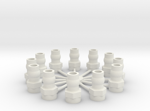 Shock Cap Balls 12 in White Natural Versatile Plastic