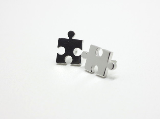 Puzzle Earrings in Premium Silver