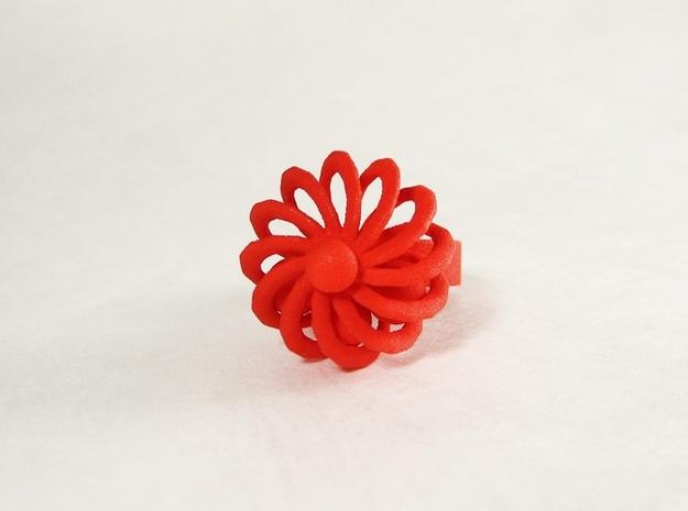 Turbine Fidget Ring 3d printed Red.