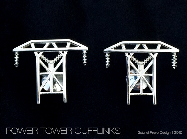 Power Tower Cufflinks in Polished Silver