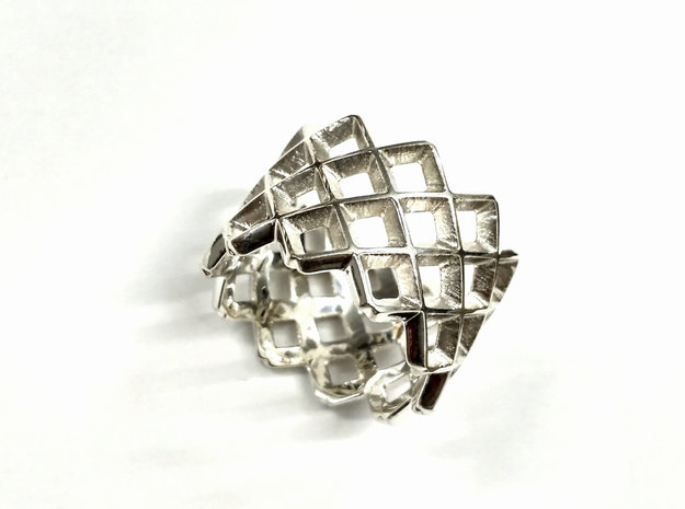 Mesh ring in Polished Silver