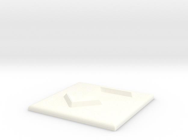 Pfeil nach links und nach unten in White Processed Versatile Plastic