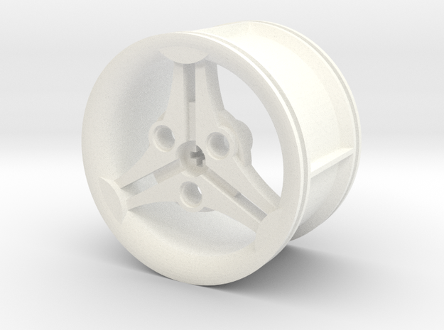 3-spoke Racing Wheel Medium High Offset in White Strong & Flexible Polished