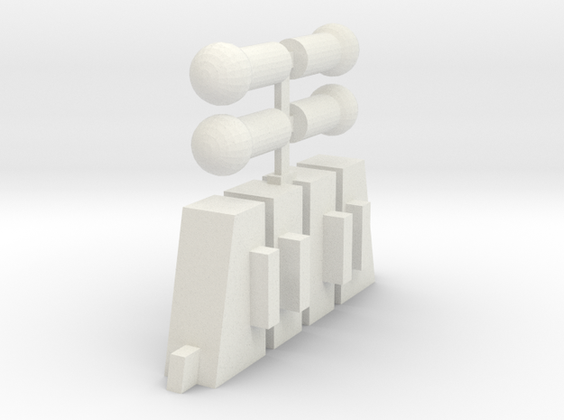 Handle Adapters And Ball Pegs (Double) in White Strong & Flexible