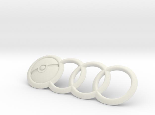 Audi Emblem Pokemon PokeBall 7.5 Inch in White Natural Versatile Plastic