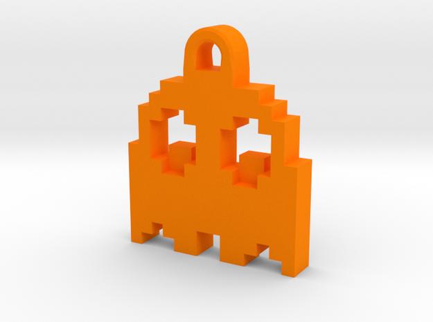 Pac Man Ghost 8-bit Earring 2 (looks down | moving in Orange Processed Versatile Plastic