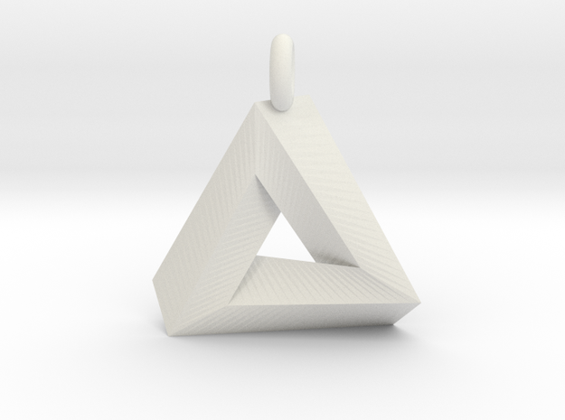 Penrose Triangle - Pendant (3cm | 3.5mm O-Ring) in White Natural Versatile Plastic