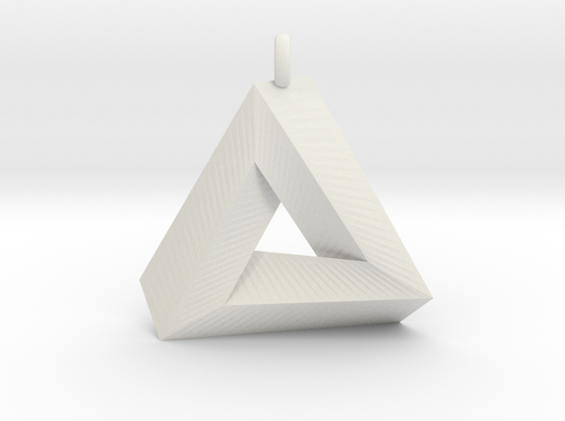 Penrose Triangle - Pendant (3cm | 2.5mm O-Ring) in White Natural Versatile Plastic