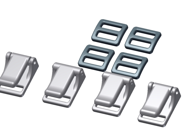1:6 Scale Seat Belt Parts - Snap Type Connector in White Strong & Flexible Polished