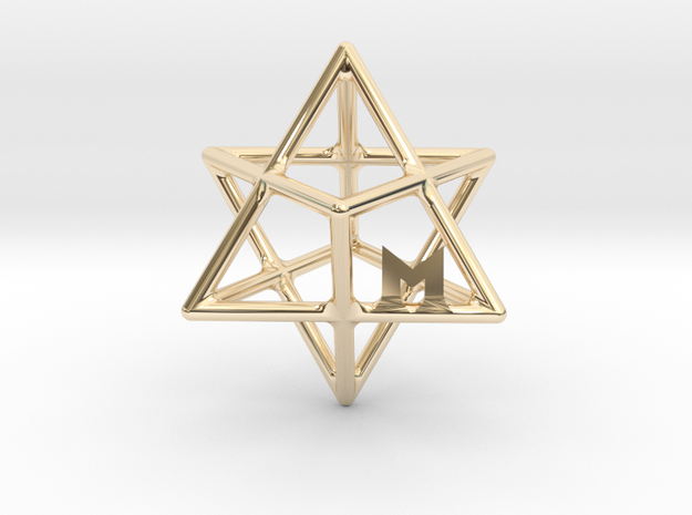 MILOSAURUS Tetrahedral 3D Star of David Pendant in 14K Yellow Gold