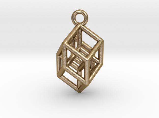 Hypercube Tesseract Pendant in Polished Gold Steel