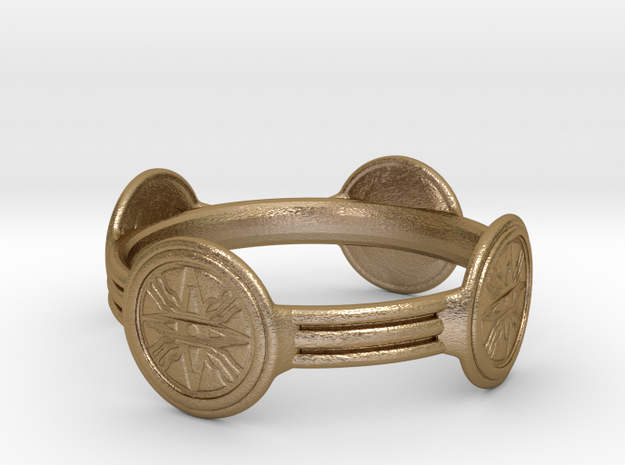 Nimrud Ring - Size 13.5 in Polished Gold Steel