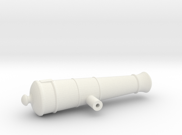 1:24 12-pounder Short cannon in White Natural Versatile Plastic