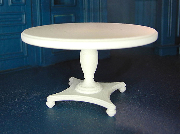 1:24 Round Colonial Dining Table in White Processed Versatile Plastic