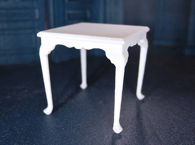 1:24 Queen Anne Square Dining Table in White Strong & Flexible