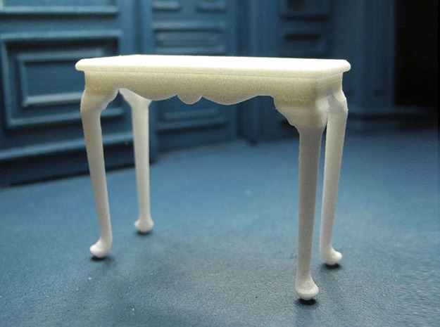 1:24 Fancy Queen Anne Console Table, Medium in White Strong & Flexible