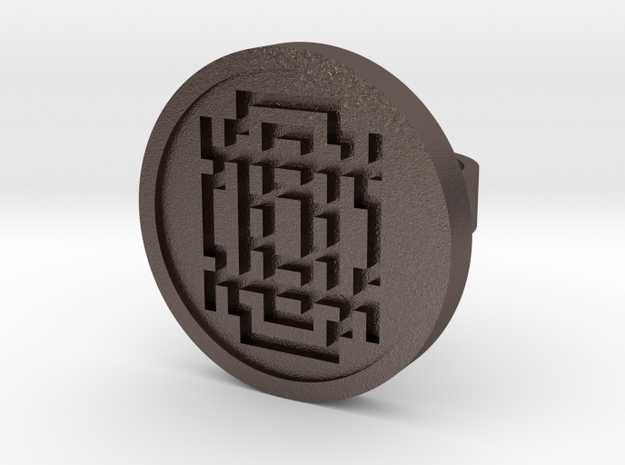 Maze Ring (Size 5) in Polished Bronzed Silver Steel