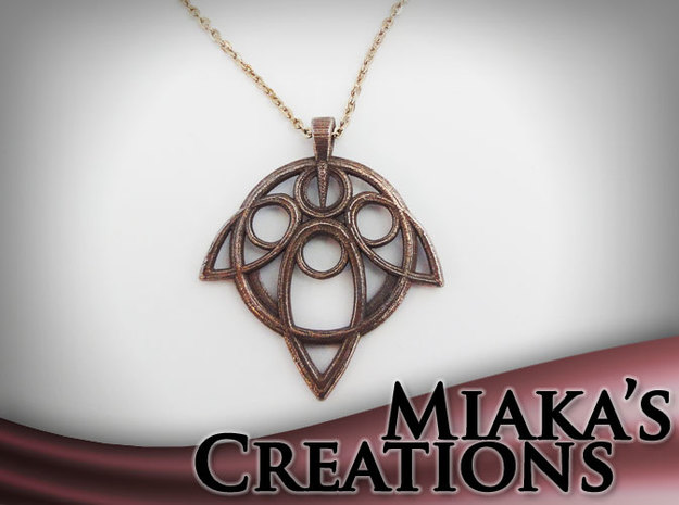 Yuna Summoner Pendant  in Polished Bronzed Silver Steel