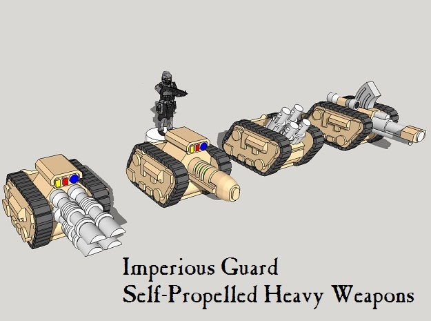 6mm Tracked Sci-Fi Infantry Guns (16pcs) in Smooth Fine Detail Plastic