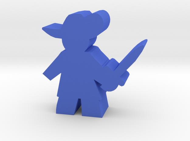 Game Piece, Musketeer, sword ready in Blue Processed Versatile Plastic