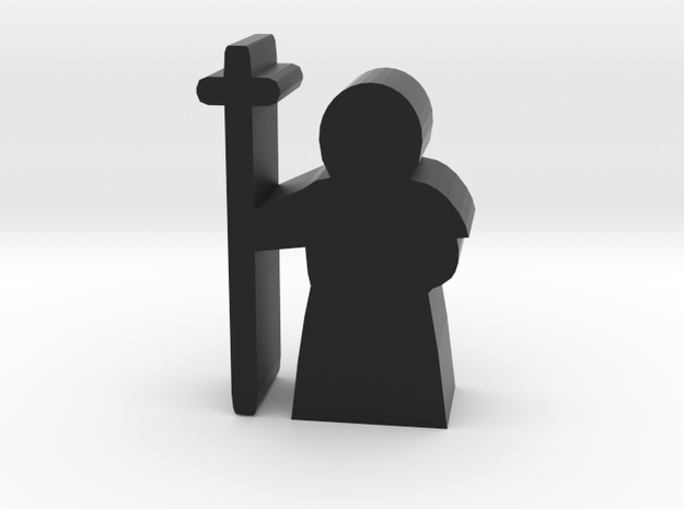 Game Piece, Priest with cross in Black Natural Versatile Plastic
