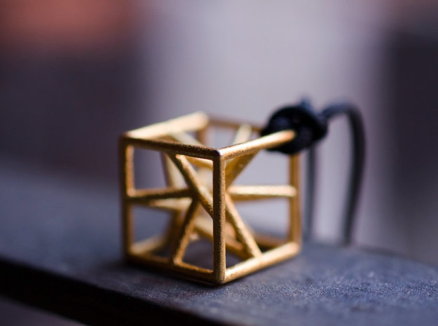 Star cube pendant in Polished Gold Steel