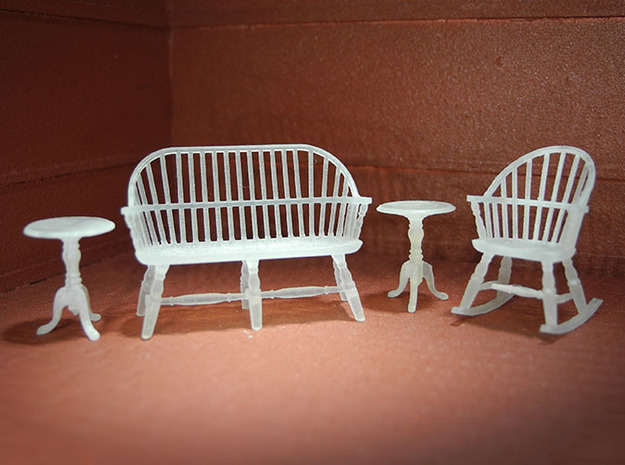 1:48 Windsor Sitting Room Set in Smooth Fine Detail Plastic